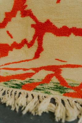 Berber Rug Azilal Teppich White Orange Green