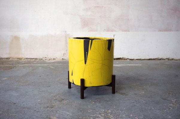Raku Blumentopf Fat Lava Keramik Eiche handgemacht Made in Germany Walnuss Eiche Mid Century Modern Design handmade