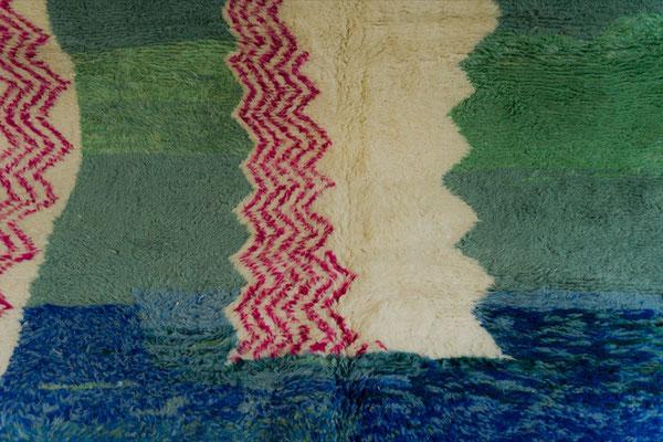 Berber Rug Azilal Teppich Green Pink Blue