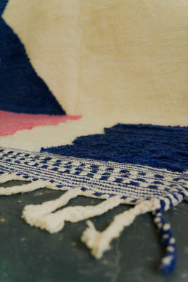 Berber Rug Azilal Teppich Blue White Pink