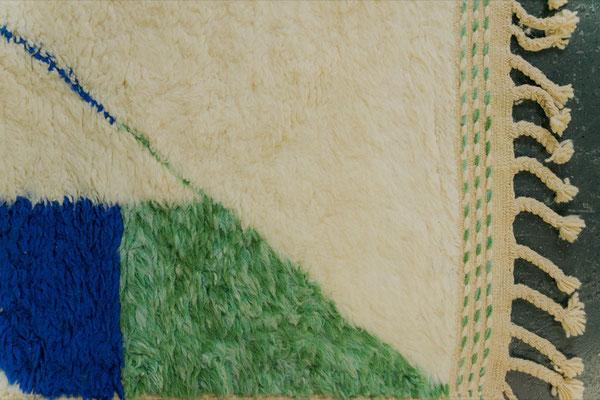 Berber Rug Azilal Teppich White Blue Green