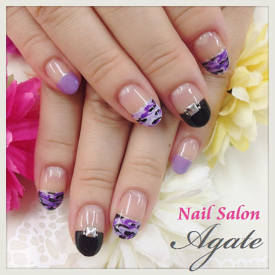 カモフラ柄◆紫迷彩ネイル