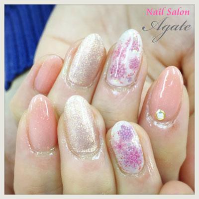 冬ネイル◆ピンクの雪の結晶ネイル