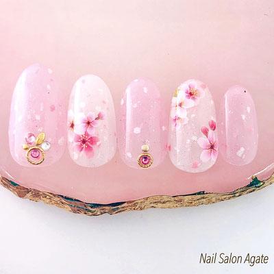 桜ネイル, シースルーネイル, ピンクネイル, 春ネイル, フラワーネイル