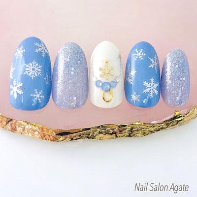 冬ネイル, 雪の結晶ネイル, ネックレスネイル, スモーキーブルーネイル, スタッズネイル