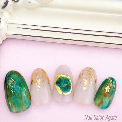 ジェムストーンネイル/秋ネイル/天然石ネイル/メタリックネイル/ゴールドネイル