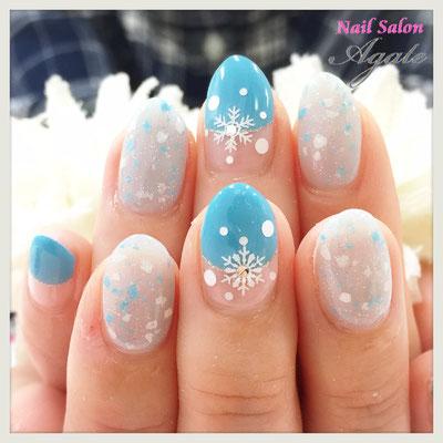 冬ネイル◆雪の結晶バルーンフレンチネイル