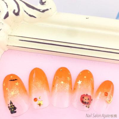 ハロウィンネイル/オレンジネイル/ダブルグラデーションネイル/パンプキンネイル/かぼちゃネイル