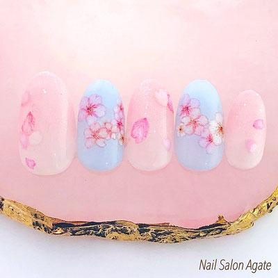 桜ネイル, 春ネイル , グラデーションネイル, ピンクネイル, 花びらネイル, sakura, フラワーネイル
