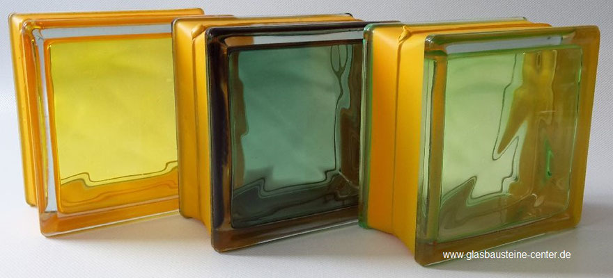 MyMiniGlass MG/s MINI 14,6x14,6x8 15x15 Type Vegan Green Yellow Emerald Seves Design Glasbausteine Glasstein Glass Blocks Glass Blokker France Glasblokke Briques de verre Glasblock Glazen Bouwstenen Glasblock Österreich Danmark Nederland MG Glasbaustein