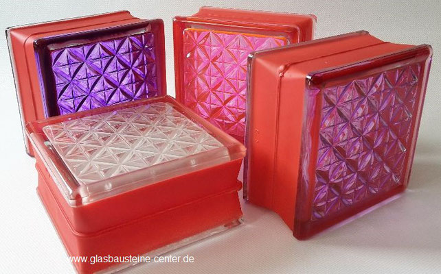 MyMiniGlass MG/s MINI 14,6x14,6x8 15x15 Type Romantic Pink Rosa white 30 % ruby violett Seves Design Q15 Glasbausteine Glasstein Glass Blocks Glass Blokker France Glasblokke Briques de verre Glasblock Glasbaksteen Glazen Bouwstenen Glasblock danmark mg