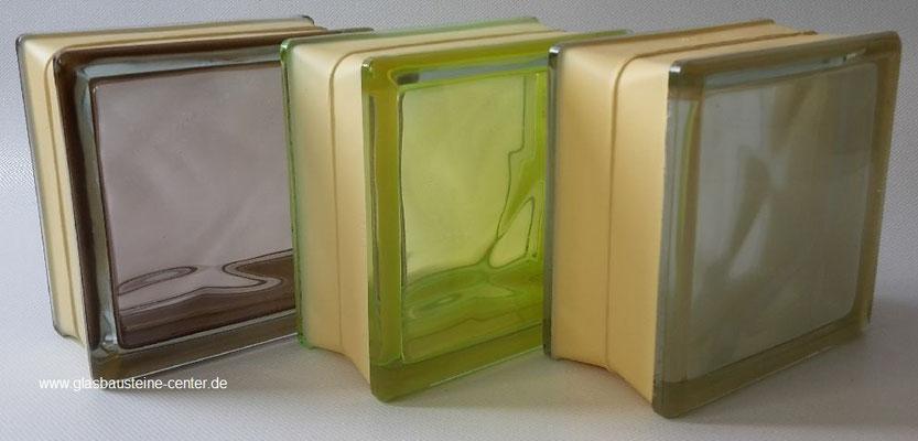 MyMiniGlass MG/s MINI 14,6x14,6x8 15x15 Type Very Natural Green Bronze White 30 % Seves Design Q15 Glasbausteine Glasstein Glass Blocks Glass Blokker France Glasblokke Briques de verre Glasblock Glasbaksteen Glazen Bouwstenen Glasblock Österreich danmark