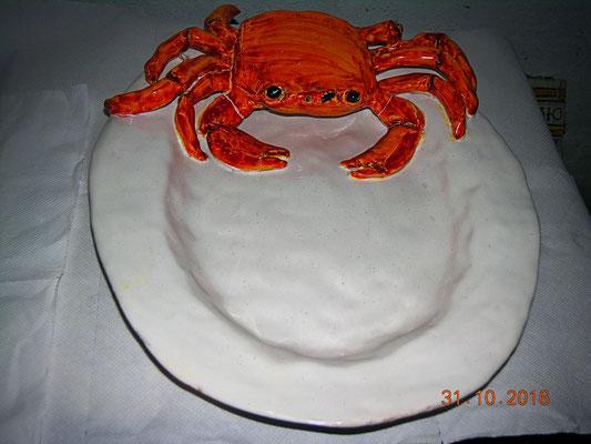 piatto ceramica con granchio fatto interamente fatto a mano crab pot pottery
