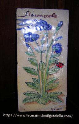 mattonella botanica di ceramica dipinta a mano su cotto 15 x 30         35,00 euro