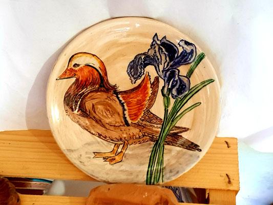 piatto di ceramica con papera anatra mandarina 20 cm