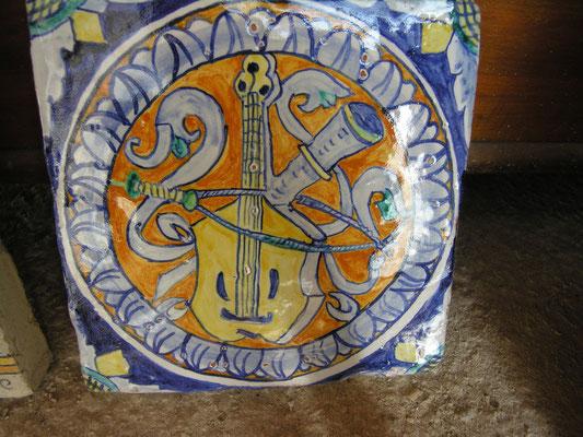 MATTONELLA  antica DI CERAMICA maiolica per cucina antica