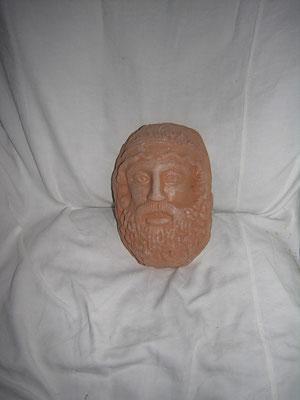 mascherone in cotto fatto a mano Giove