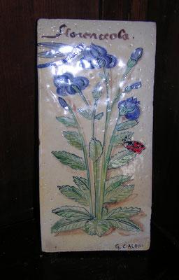 mattonella botanica di ceramica dipinta a mano su cotto 15 x 30