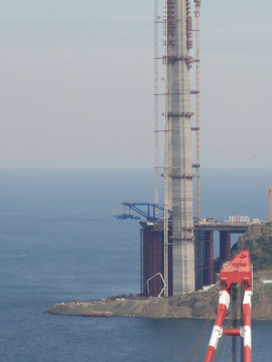 Baustelle der dritten Bosporusbrücke an der Mündung zum Schwarzen Meer