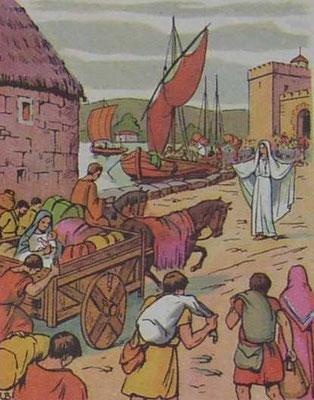 Ste Geneviève vient chercher du blé à Arcis