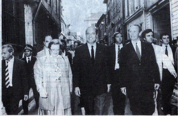 J. Chirac, R. Galley, Mme Baroin, J. Schweitzer viennent de visiter la Mission Locale