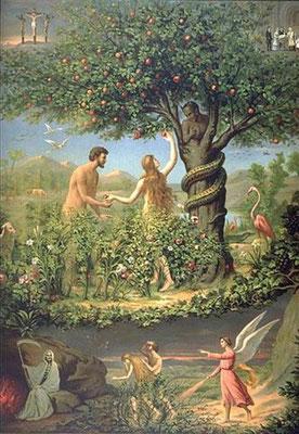 Paradis terrestre avec Adam et Ebve