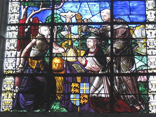 Église de Thennelières, vitrail du bras sud du transept. Au centre : François Ier de Dinteville, évêque d'Auxerre