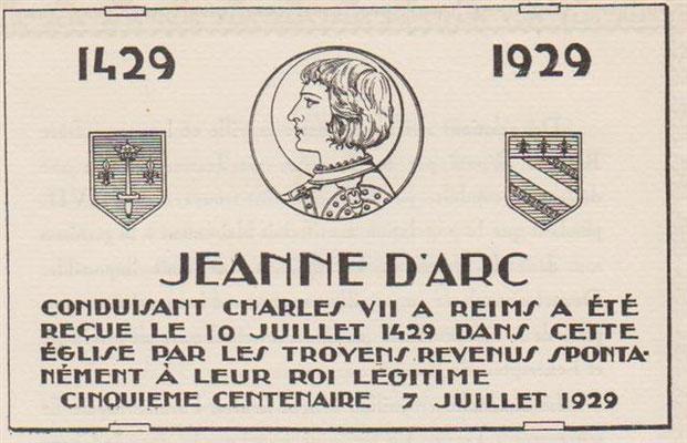 Plaque Jeanne d'Arc apposée sur la Cathédrale de Troyes