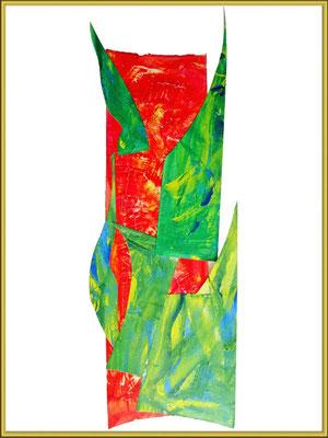 totem 1 / découpage et collage, acrylique sur papier