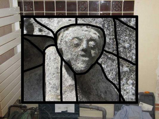 hommage à Sarkis : pseudo vitrail dans une salle de bain en chantier / création numérique