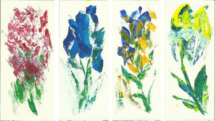 quatre fleurs / acrylique sur papier