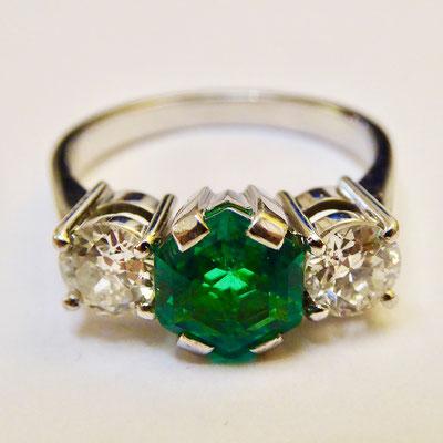 Smaragd, Brillianten, Weissgold