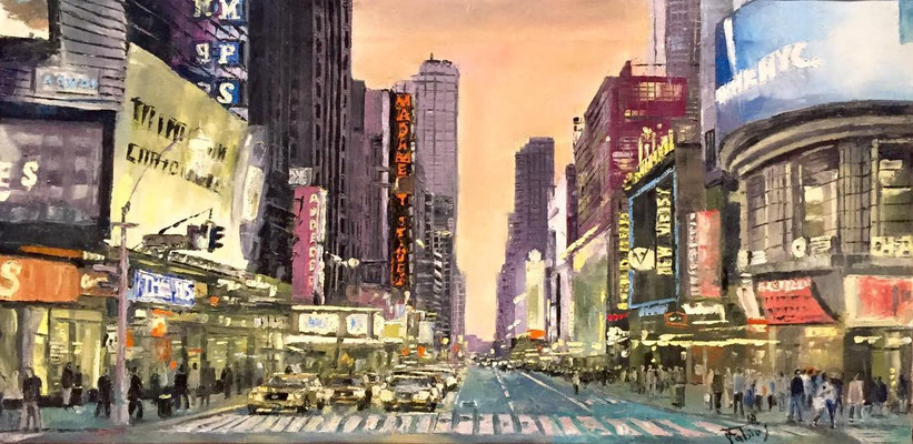 Bellissima veduta di New York - Olio su tela, 30x60