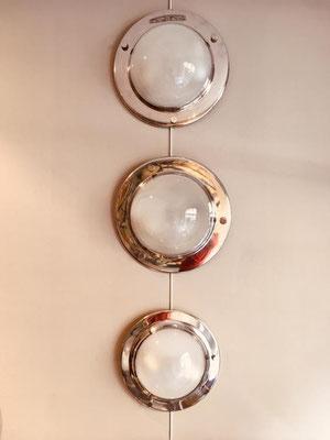 Applique/plafoniere in acciaio (2 diametro 42,5cm, 1 diametro 36cm) Luigi Caccia Dominioni per Azucena.