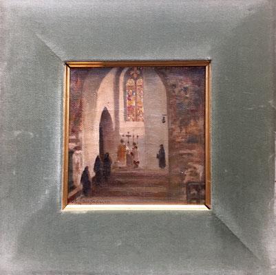 A.Lanfranco - Olio su tela - Interno di chiesa