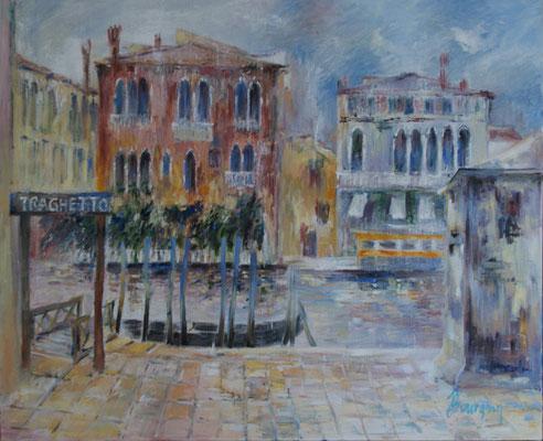Venise - Traguetto                        Huile sur toile 25F