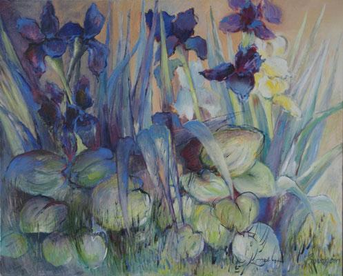 Les Iris                                                        Huile sur toile  40F