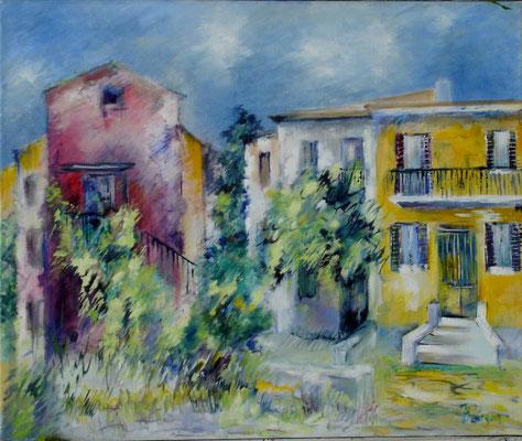 Granelli   -  La maison jaune           Huile sur toile