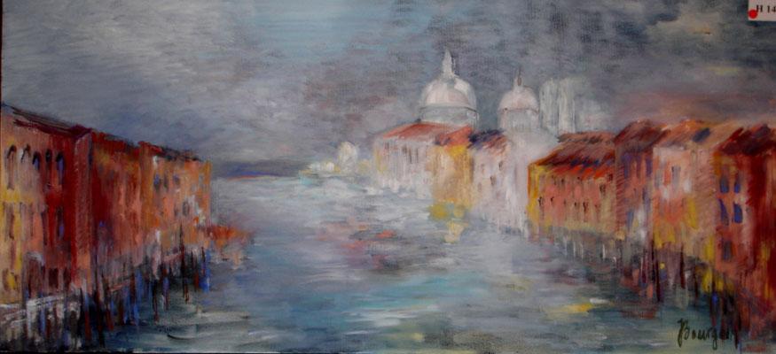 Venise - Canale Grande - San Gorgio  Huile sur toile  40x80