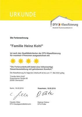 Ferienwohnung Kohl DTV-Klassifizierung 4 Sterne