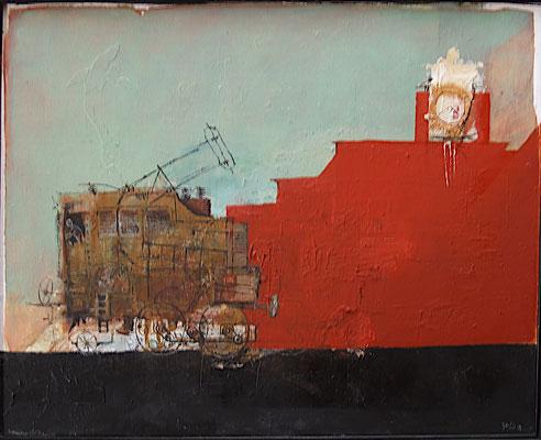Lokomotive auf Saturnrot (Eitempera, Sägespäne, Öl, Spanplatte) 48x55