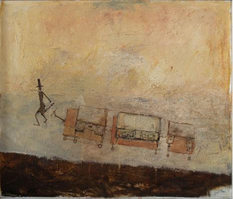 Möbeltransport (Eitempera, Öl, Faserplatte) 50x60