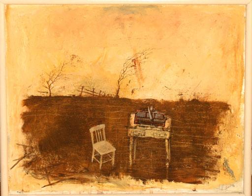 Tisch im Acker (Eitempera, Öl, Faserpl.) 2019