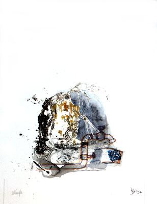 Wasserfloh (Monotypie, Aquarell, Papier) 2020