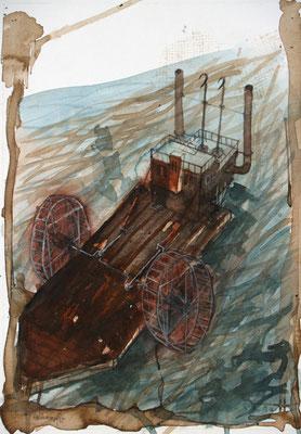 Raddampfer (Aquarell, Papier) 2020