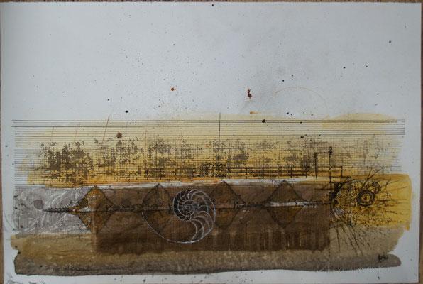 Schraube im Untergrund (Kreide, Tusche/ Fabriano) 30x40