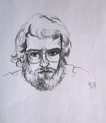 Selbstbildnis, Kohle, 1980