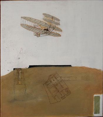 ein Flugpionier (Eitempera, Öl, Leinwand) 70x60