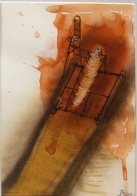 Mumientransport (Kreide, Tusche, Papier) 42x32