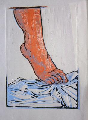 Weiblicher Fuß auf Tuch. Frblinolschnitt (1992)
